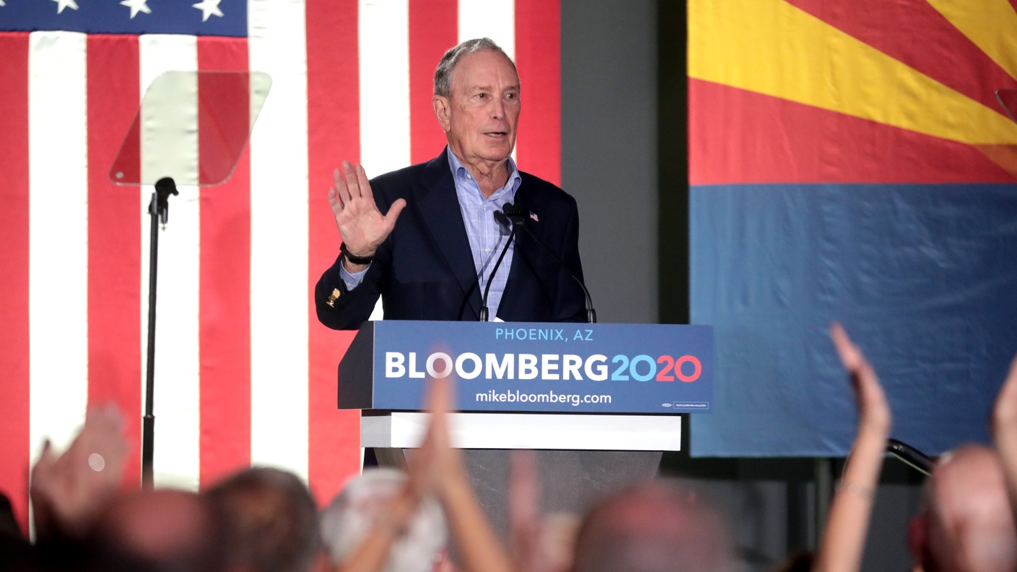 Former Mayor Mike Bloomberg speaking with supporters at a campaign rally at Warehouse 215 at Bentley Projects in Phoenix, Arizona.