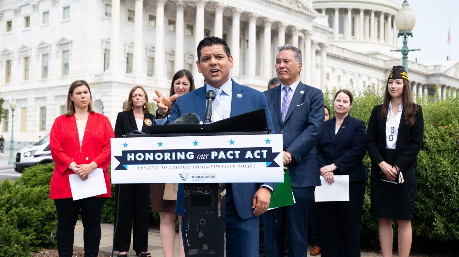 U.S. Representative Raul Ruiz (D-CA) speaking at a press conference to unveil legislation to help veterans exposed to toxic burn pits, May 26, 2021, Washington, DC, United States.