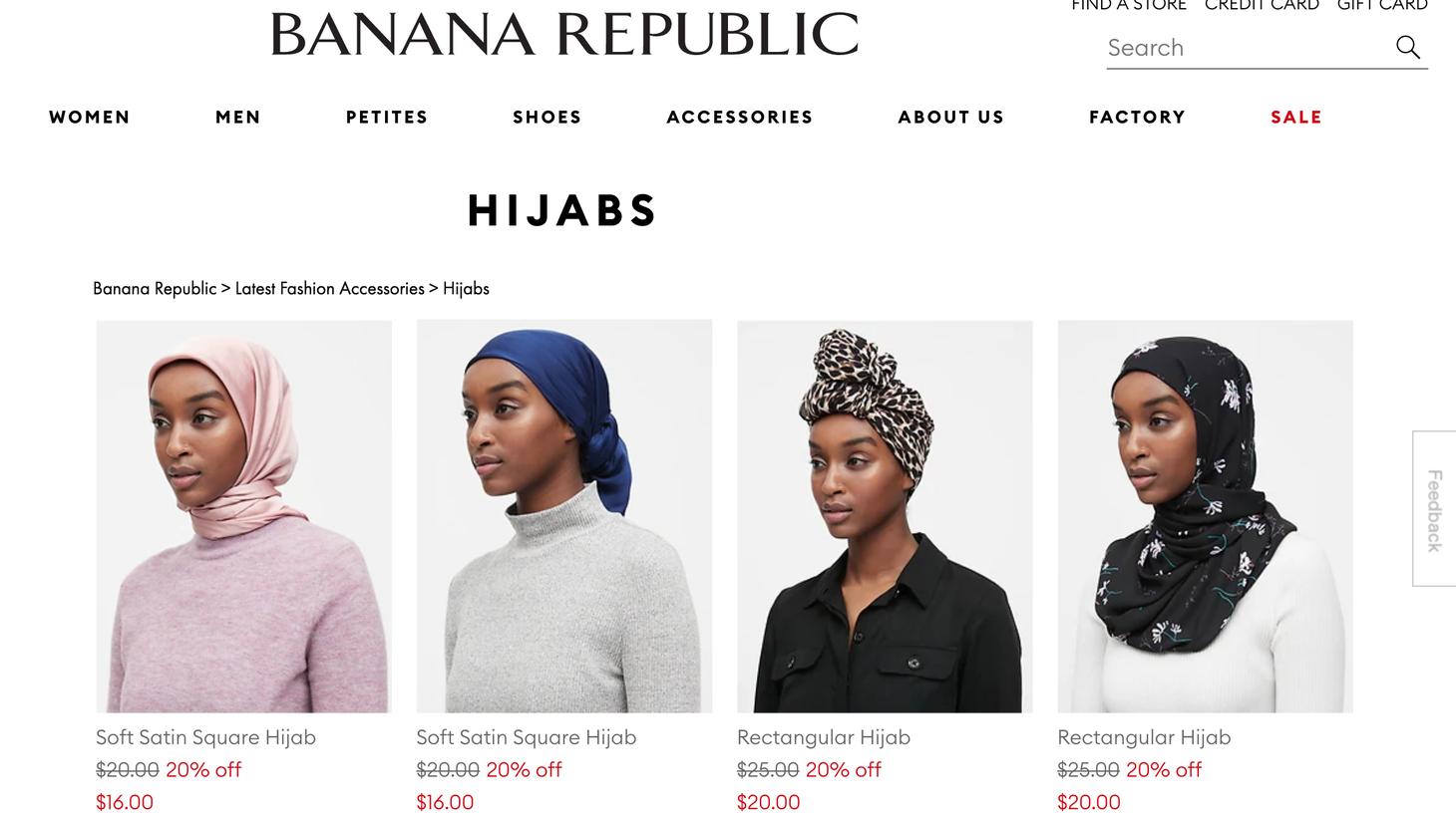Hijabs on sale on bananarepublic.com.