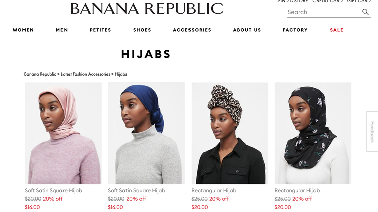 Banana Republic is the latest fashion retailer to sell hijabs.