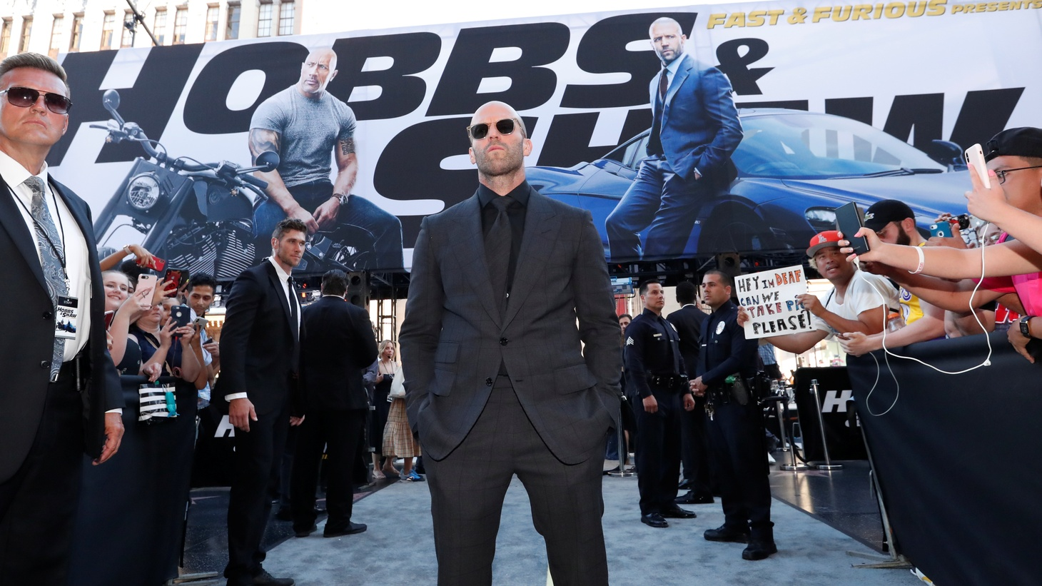 """Cast member and producer Jason Statham arrives at the premiere for """"Fast & Furious Presents: Hobbs & Shaw"""" in Los Angeles, California, U.S., July 13, 2019."""