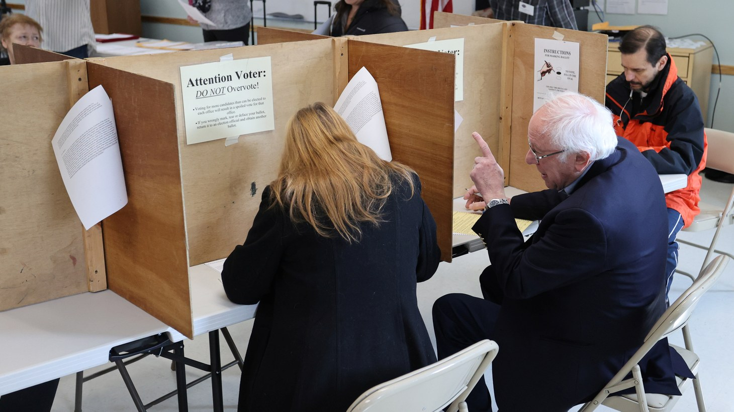Democratic 2020 U.S. presidential candidate Senator Bernie Sanders and his wife Jane O'Meara Sanders vote in the Vermont primary at their polling place in Burlington, Vermont, U.S. March 3, 2020.