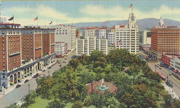 A vintage postcard shows an early Pershing Square