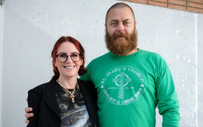 "Megan Mullally and Nick Offerman portrayed a bitterly divorced couple on ""Parks and Recreation."" But they're happily married in real life."