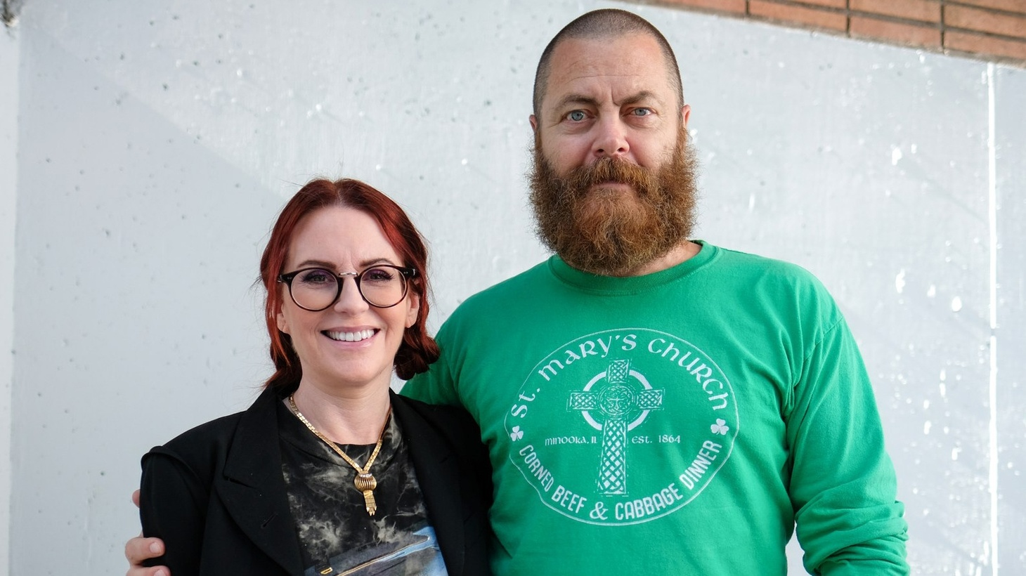 Megan Mullally and Nick Offerman at KCRW.