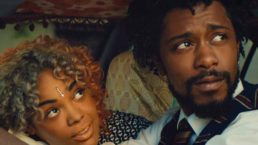 "Tessa Thompson as Detroit and Lakeith Stanfield as Cassius Green in Boots Riley's ""Sorry to Bother You"", 2018."