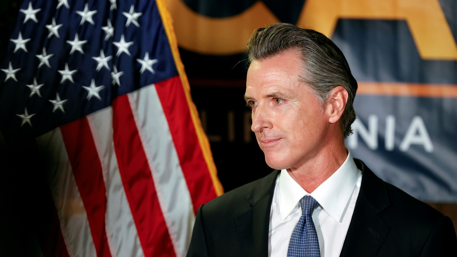 California Governor Gavin Newsom makes an appearance after the polls close on the recall election, at the California Democratic Party headquarters in Sacramento, California, U.S., September 14, 2021.