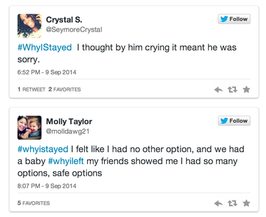 #WhyIStayed tweets