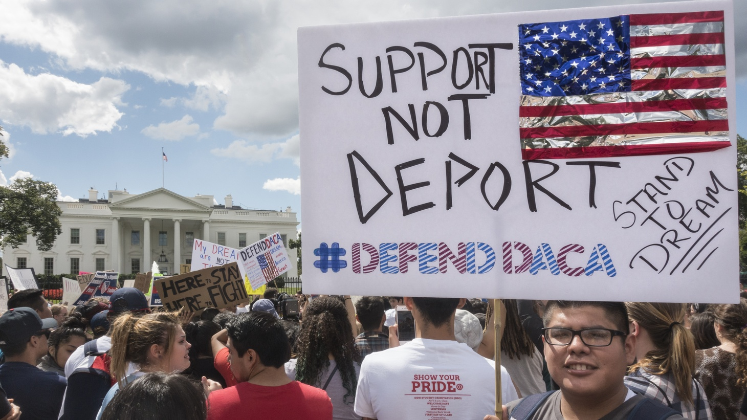 In front of the White House, demonstrators try to drum up support for DACA during the Trump administration, September 9, 2017.