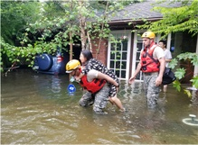 On the ground in Houston with the rescued and the rescuers