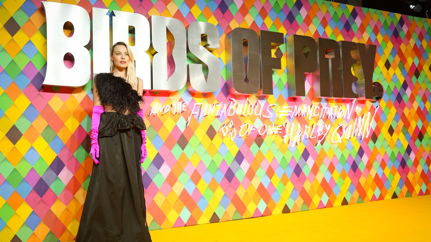 """Margot Robbie at the world premiere for """"Birds of Prey (and The Fantabulous Emancipation of One Harley Quinn)."""""""