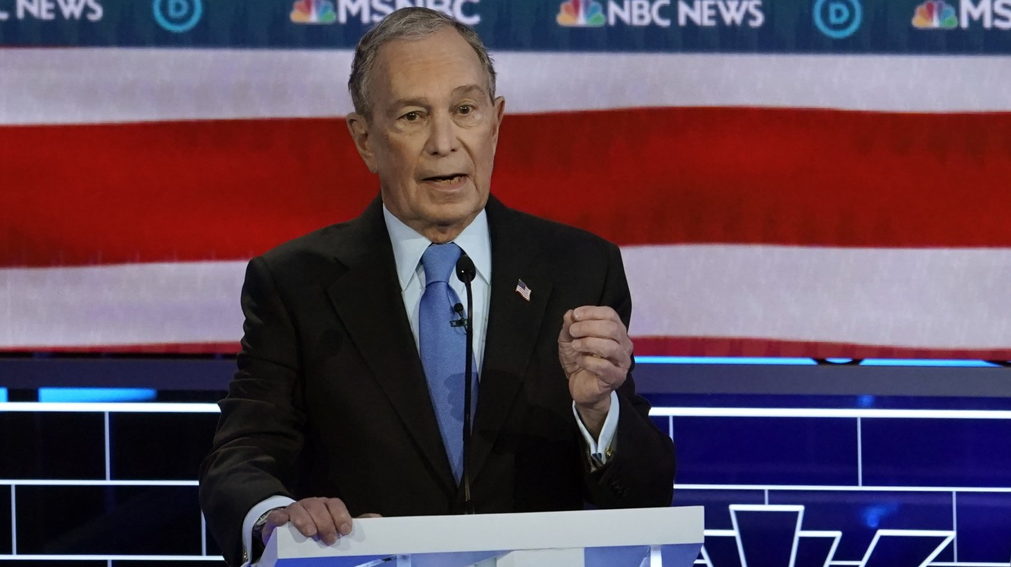 Former New York City Mayor Mike Bloomberg speaks at the ninth Democratic 2020 U.S. presidential candidates debate at the Paris Theater in Las Vegas, Nevada, U.S., February 19, 2020.