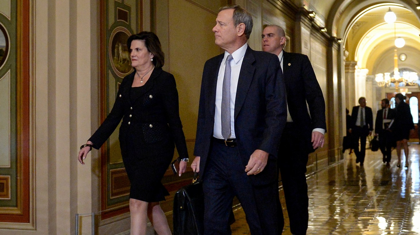 U.S. Supreme Court Chief Justice John Roberts arrives at the U.S. Capitol before the start of the day's Senate impeachment trial of President Donald Trump in Washington, U.S., January 30, 2020.