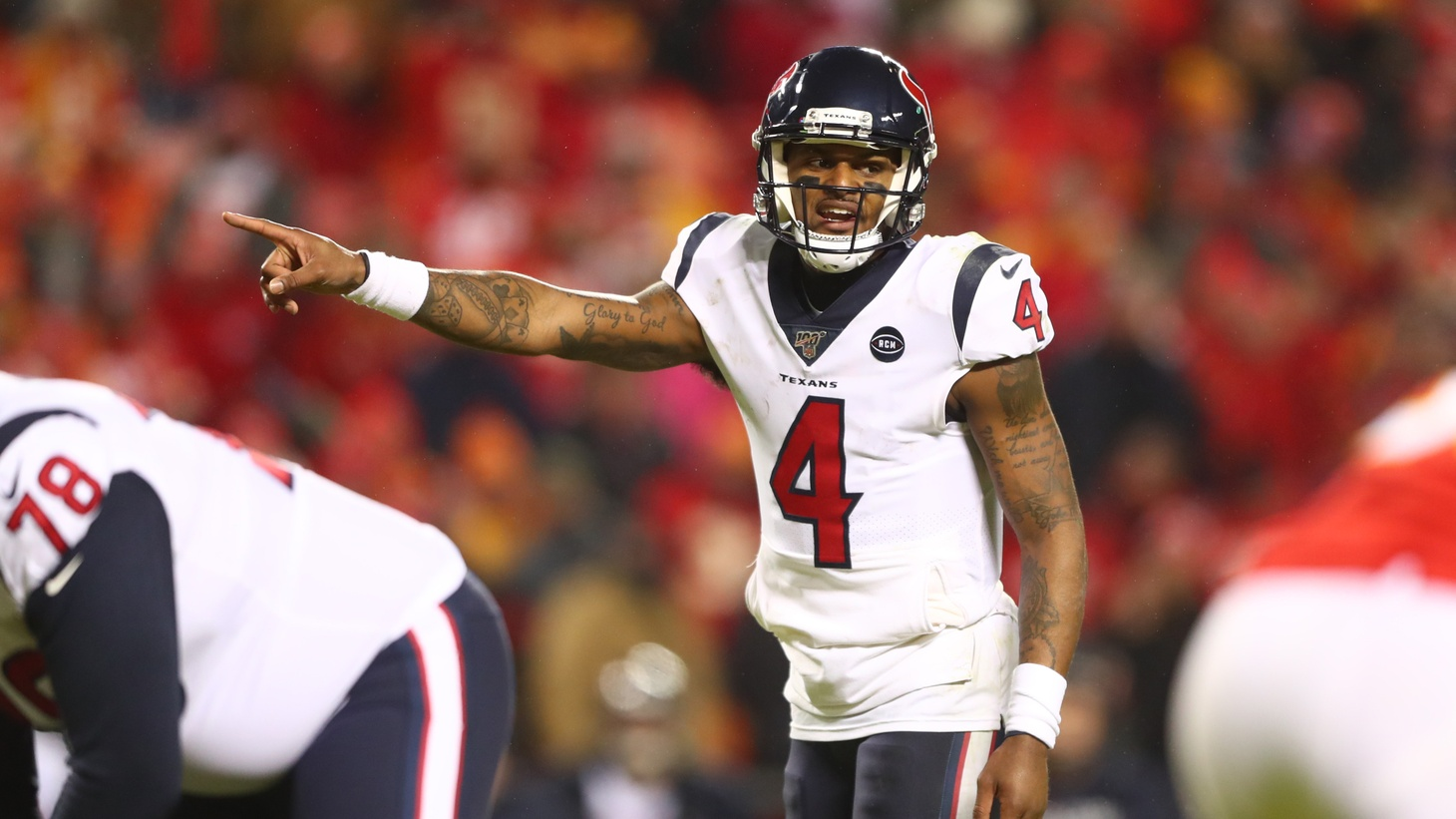 Houston Texans quarterback Deshaun Watson (4) reacts against the Kansas City Chiefs in a football game at Arrowhead Stadium on Jan 12, 2020, in Kansas City, MO. Watson and several other NFL players have posted a social media video pushing the league to condemn racism and support its black players.