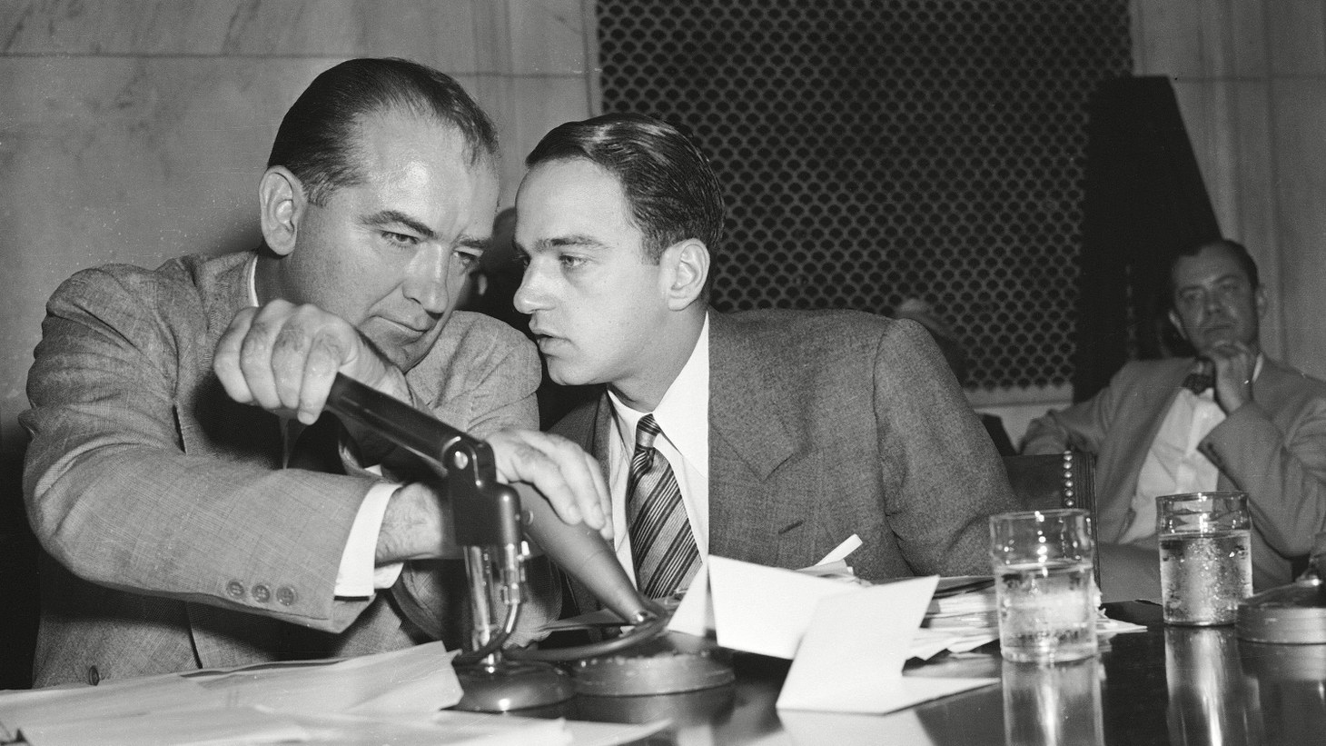Joseph McCarthy (left) and Roy Cohn (right).