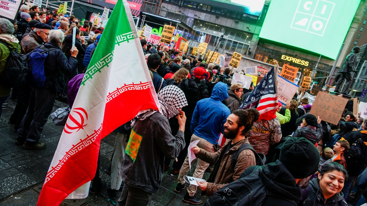 People take part in an anti-war protest amid increased tensions between the United States and Iran at Times Square in New York, U.S., January 4, 2020.