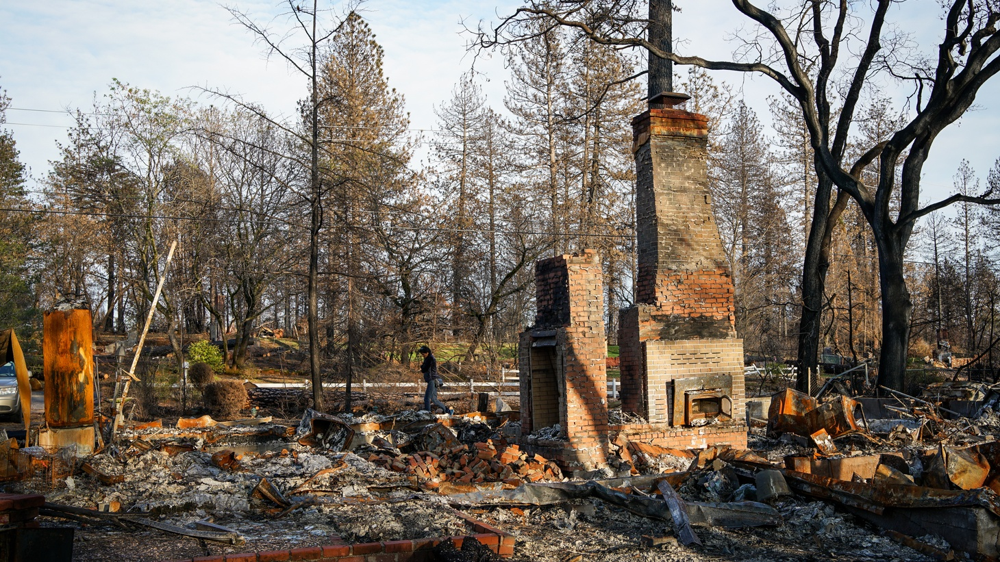 Remnants of a burned home in Paradise, California after the Camp Fire that occurred in November 2018. Photo taken March 1, 2019.