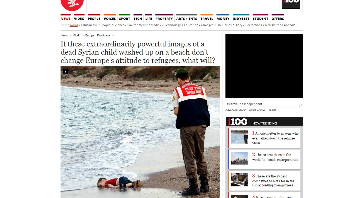 The photo of a young boy, drowned and washed ashore on a Turkish beach, has captured the world's attention. The photo has become a striking emblem of the refugee crisis in Europe and the Middle East. And, if you've eaten at upscale restaurants in the last year, you may have noticed a 3 percent charge added to your check to pay for employee healthcare. One customer was unhappy enough with the fee to file a lawsuit on Tuesday.