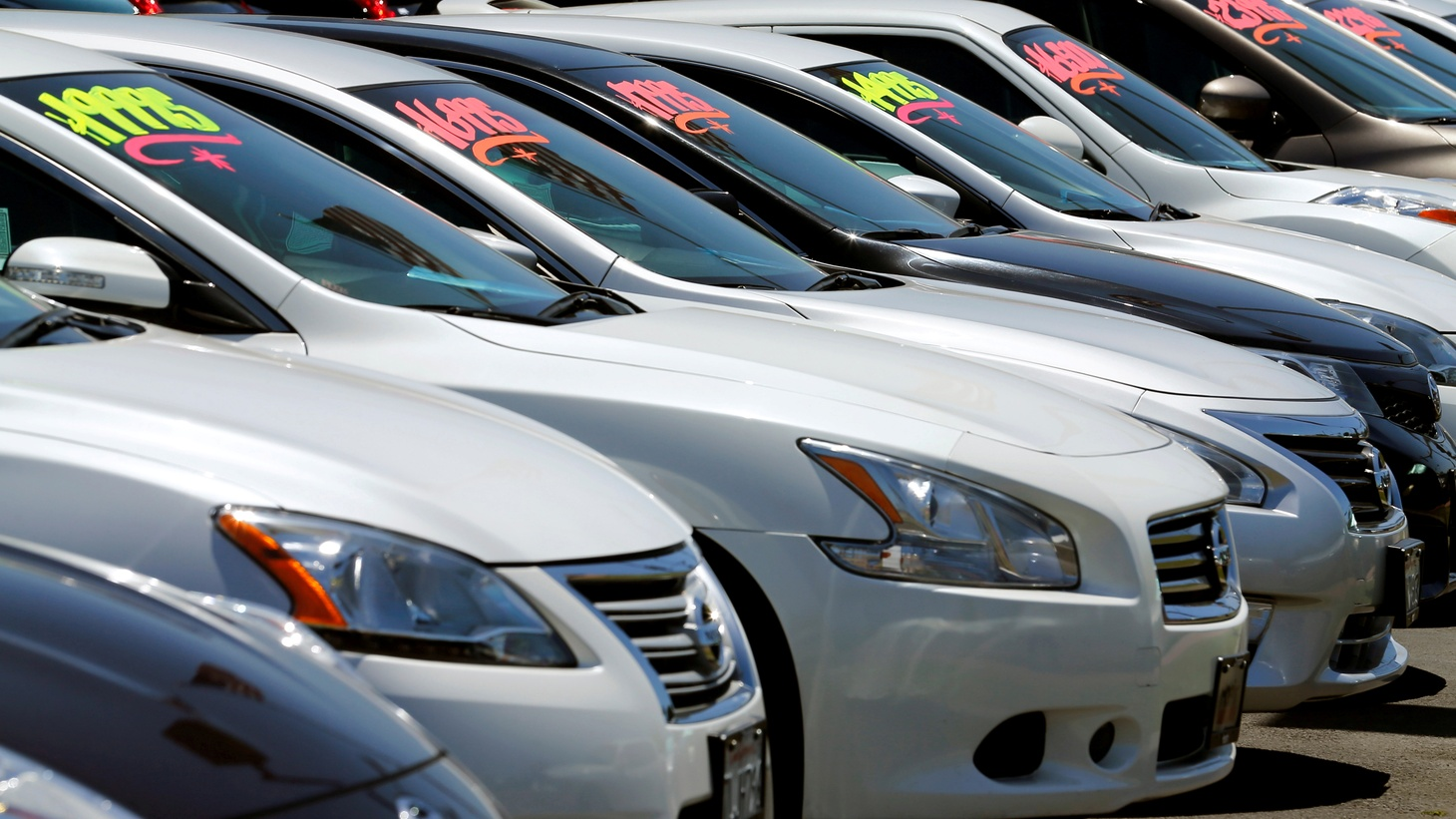 Automobiles are shown for sale at a car dealership in Carlsbad, California.