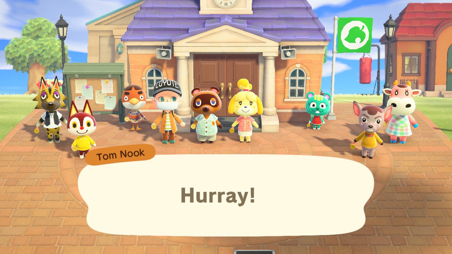 """Villagers together in """"Animal Crossing."""""""