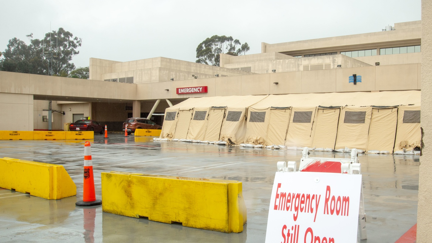 The outside of a hospital emergency room in San Diego. March 10, 2020.