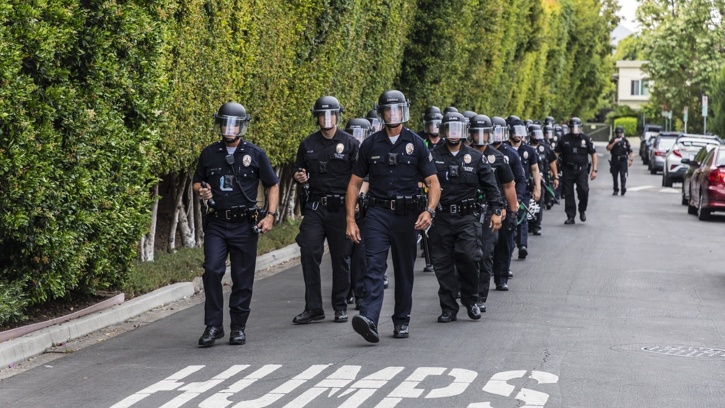 Police are on patrol outside LA Mayor Eric Garcetti's home. Protestors gathered there, calling on Garcetti to fire LAPD chief Michel Moore. June 2, 2020, Los Angeles, CA.