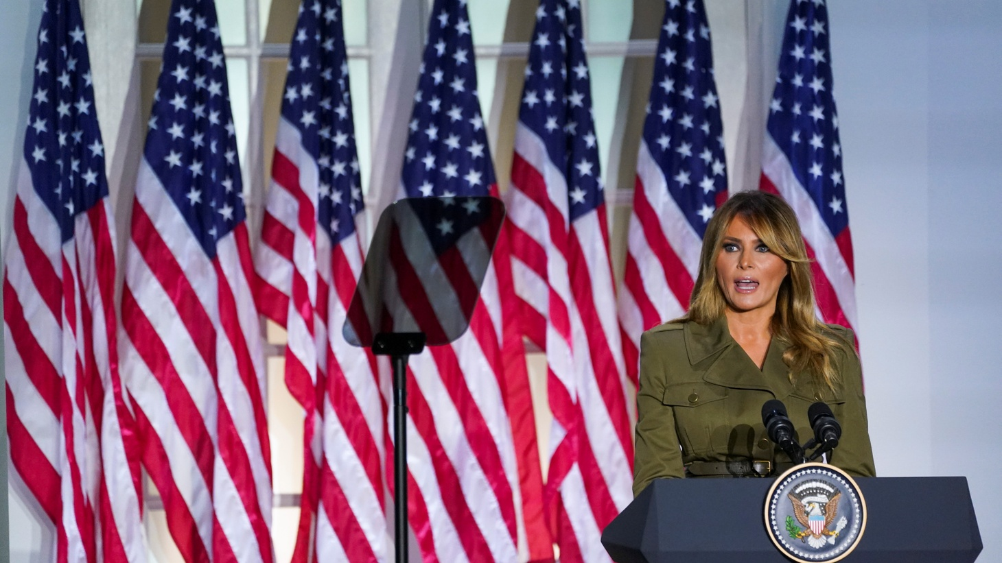 U.S. first lady Melania Trump delivers a live address to the largely virtual 2020 Republican National Convention from the Rose Garden of the White House in Washington, U.S., August 25, 2020.