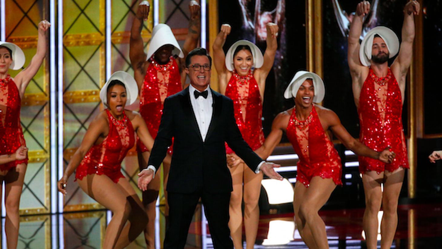 Stephen Colbert's opening monologue was full of Trump jabs, and Sean Spicer made an appearance. We get the highlights from last night's Emmys.