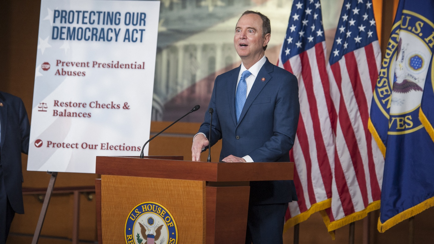 Congressman Adam Schiff tells KCRW that a Republican move to challenge the 2020 election endangers U.S. democracy. In this photo from September 23, 2020, Schiff offers remarks during a press conference on a reforms package at the US Capitol in Washington, DC.