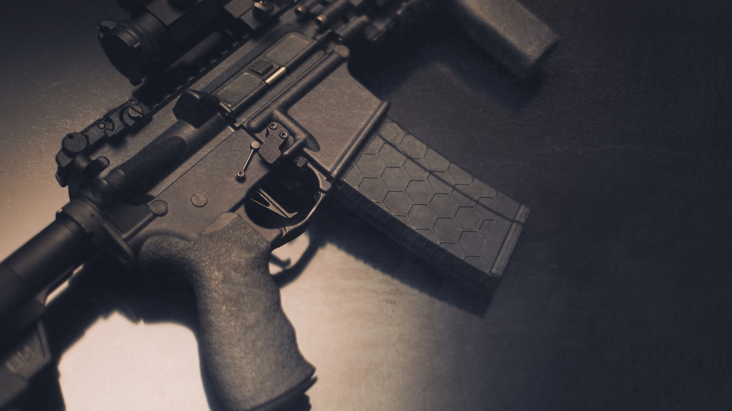 """A close-up of the AR-15 rifle. San Diego-based federal Judge Roger Benitez wrote in his 94-page ruling, """"Like the Swiss Army knife, the popular AR-15 rifle is a perfect combination of home defense weapon and homeland defense equipment. Good for both home and battle."""""""