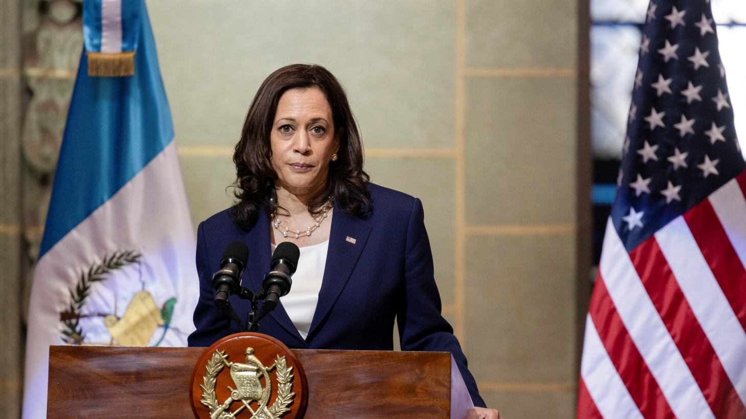 """U.S. Vice President Kamala Harris says, """"Do not come. Do not come. The United States will continue to enforce our laws and secure our borders. If you come to our border, you will be turned back."""" She was speaking about migrants heading to the U.S. at a news conference with Guatemalan President Alejandro Giammattei in Guatemala City, Guatemala June 7, 2021."""