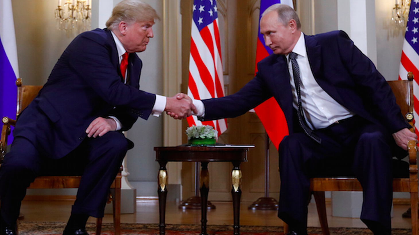 """President Trump today says he misspoke at yesterday's disastrous news conference with Vladimir Putin. He explained that he said """"would"""" instead of """"wouldn't."""" Why wouldn't it be Russia who meddled in the election?"""