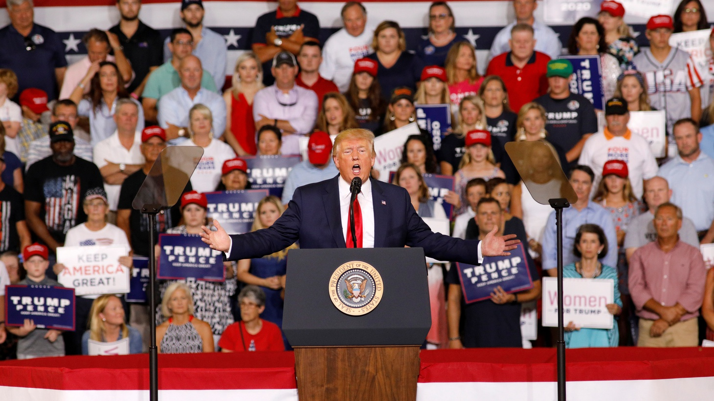 """U.S. President Donald Trump speaks about U.S. Representative Ilhan Omar, and the crowd responded with """"send her back"""", at a campaign rally in Greenville, North Carolina, U.S., July 17, 2019."""