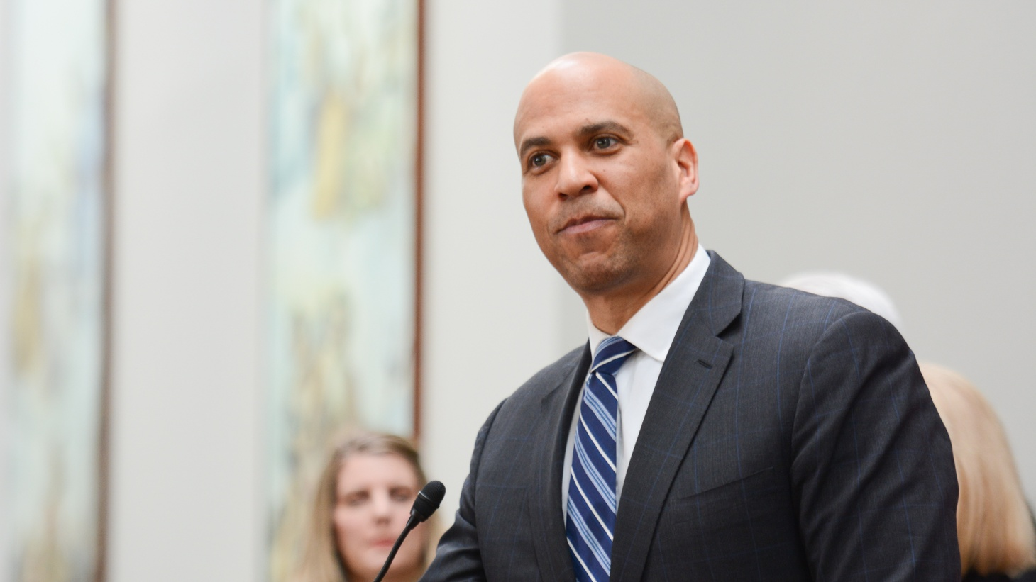 Cory Booker at a press conference on expanding social security, February 2019.
