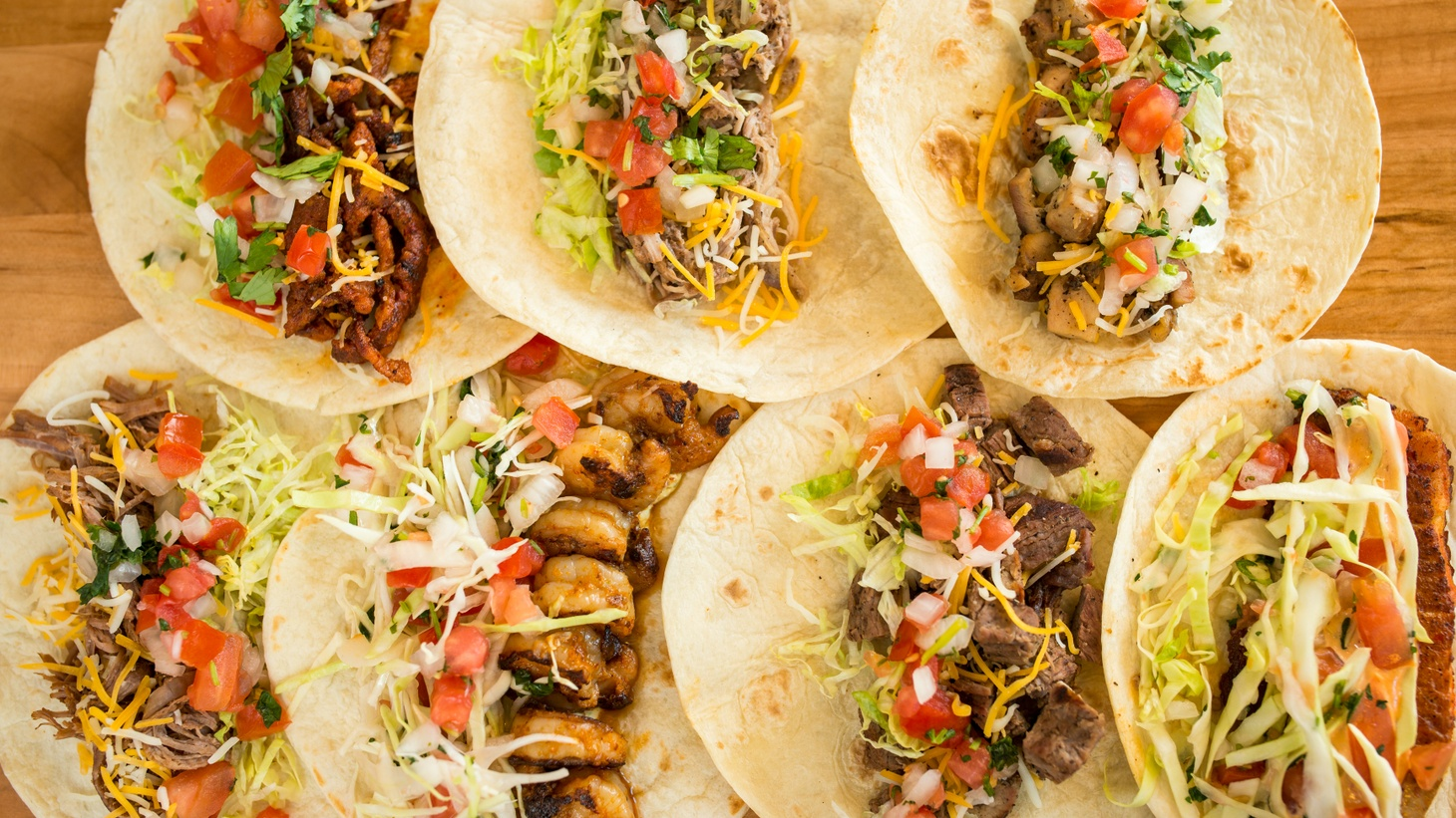 Various tacos from District Taco in Washington DC, Virginia, and Philadelphia.