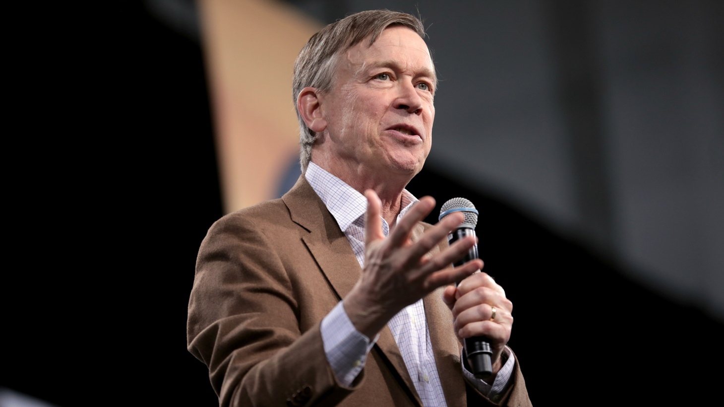 Former Governor John Hickenlooper speaking with attendees at the 2019 National Forum on Wages and Working People hosted by the Center for the American Progress Action Fund and the SEIU at the Enclave in Las Vegas, Nevada.