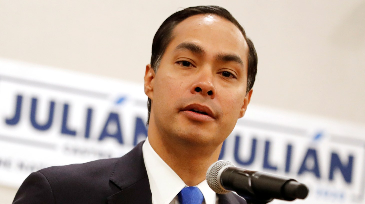 Former HUD Secretary and Democratic presidential candidate Julian Castro speaks to members of the media the morning after participating in the first U.S. 2020 presidential election Democratic candidates debate in Miami, Florida, U.S., June 27, 2019.