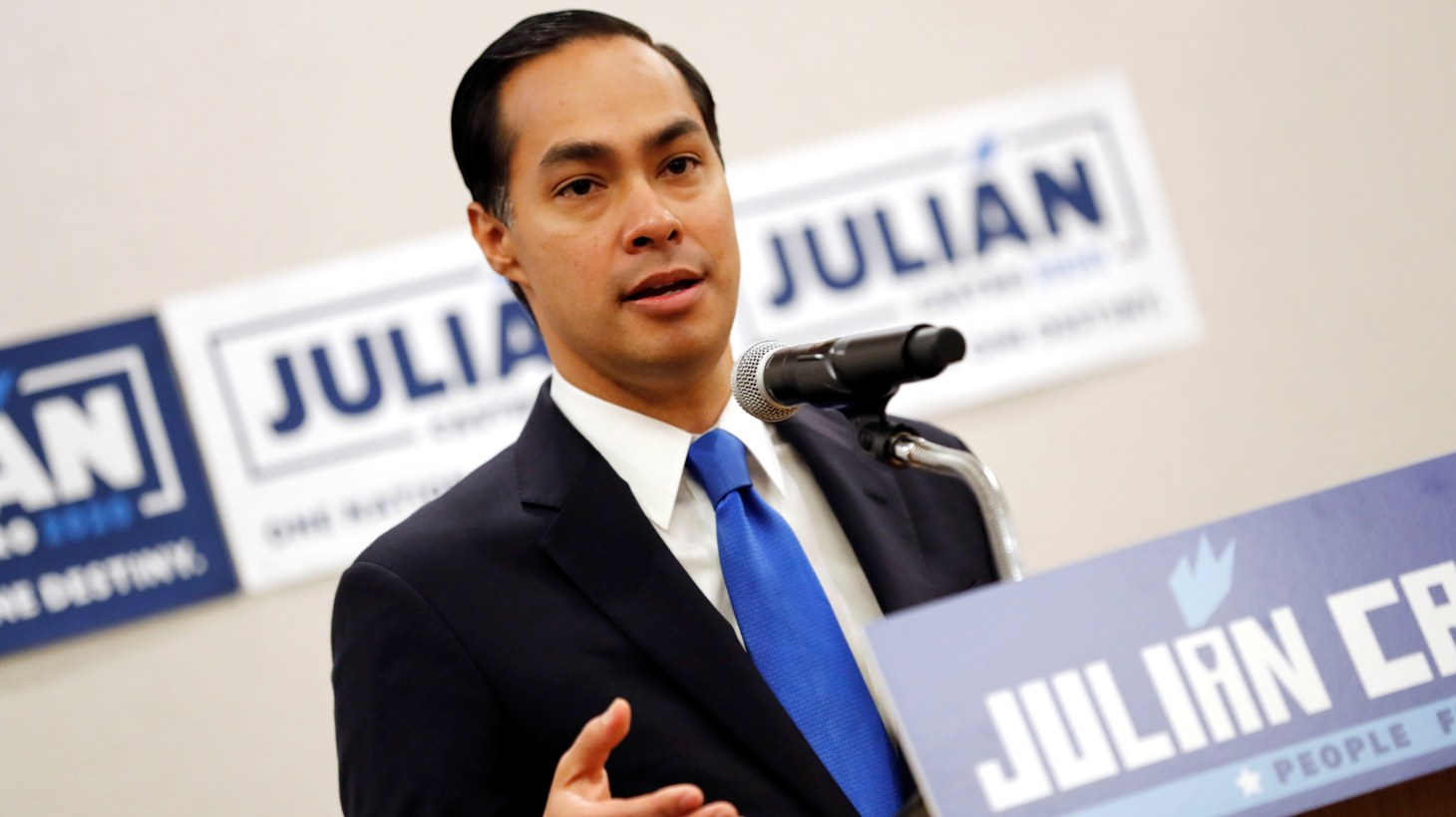 Julian Castro speaks to members of the media the morning after participating in the first U.S. 2020 presidential election Democratic candidates debate in Miami, Florida, U.S., June 27, 2019.