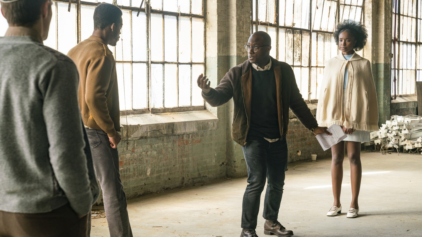 "Actor Stephan James, director Barry Jenkins, and actor KiKi Layne on the set of ""If Beale Street Could Talk."""