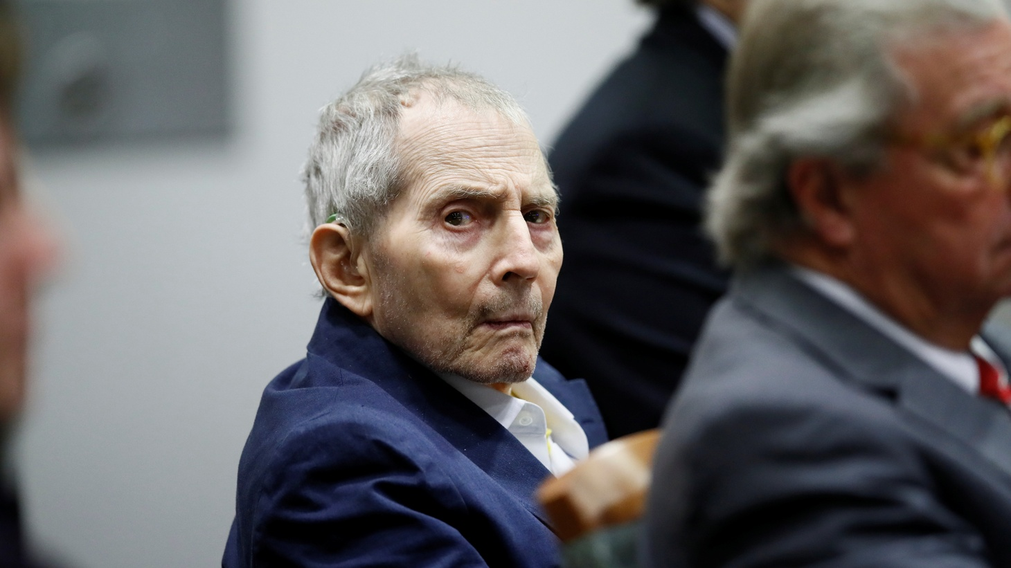 Robert Durst sits for opening statements in his murder trial in Los Angeles, California, U.S., March 4, 2020.