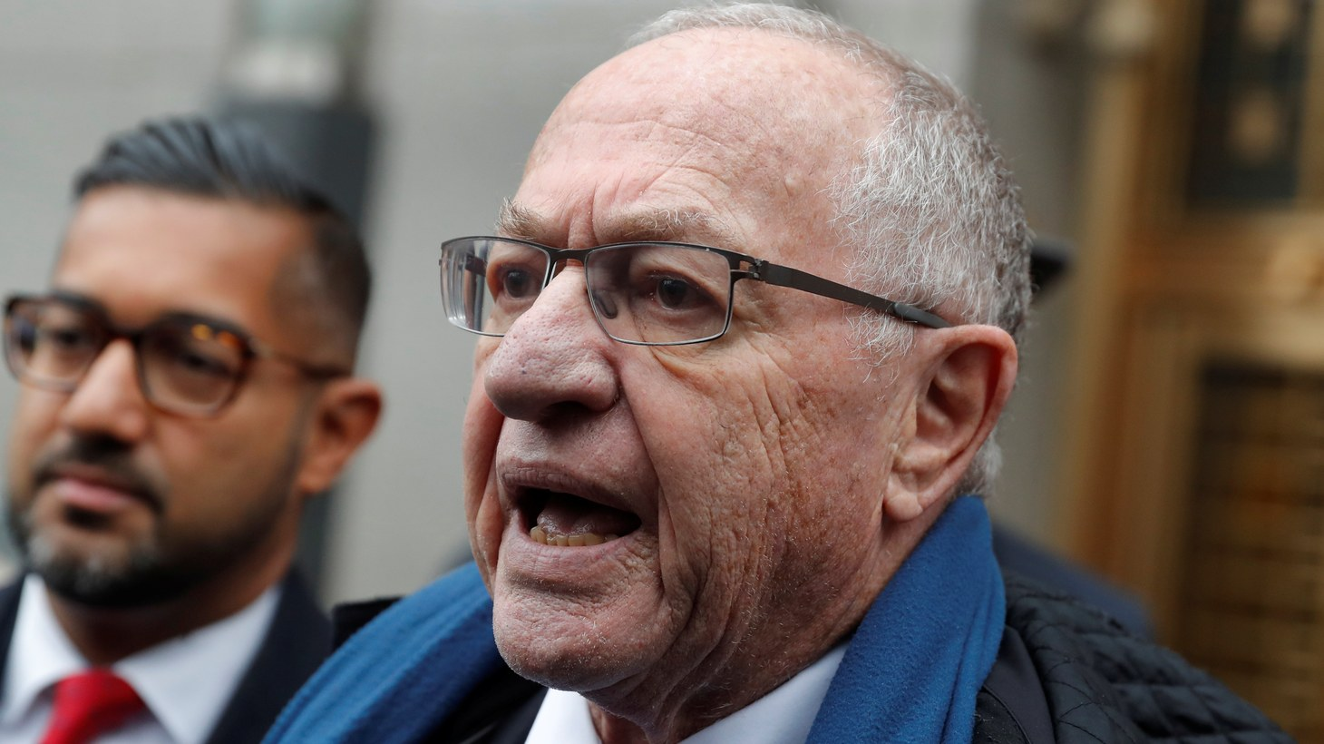 Alan Dershowitz leaves the Manhattan Federal Court in New York, following a status conference in the defamation lawsuit brought by Virginia Giuffre against Dershowitz over discovery issues in Manhattan, New York, U.S., December 2, 2019.