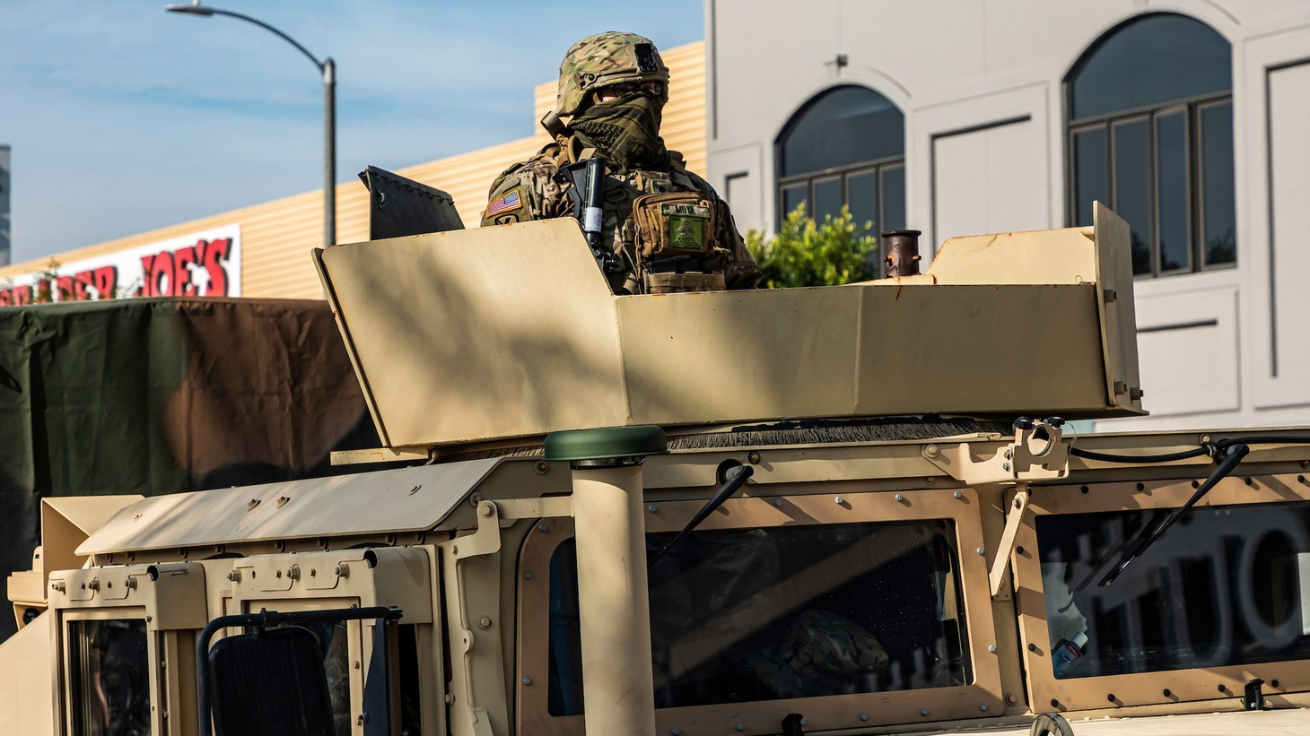 National Guard troops were positioned throughout LA over the weekend.