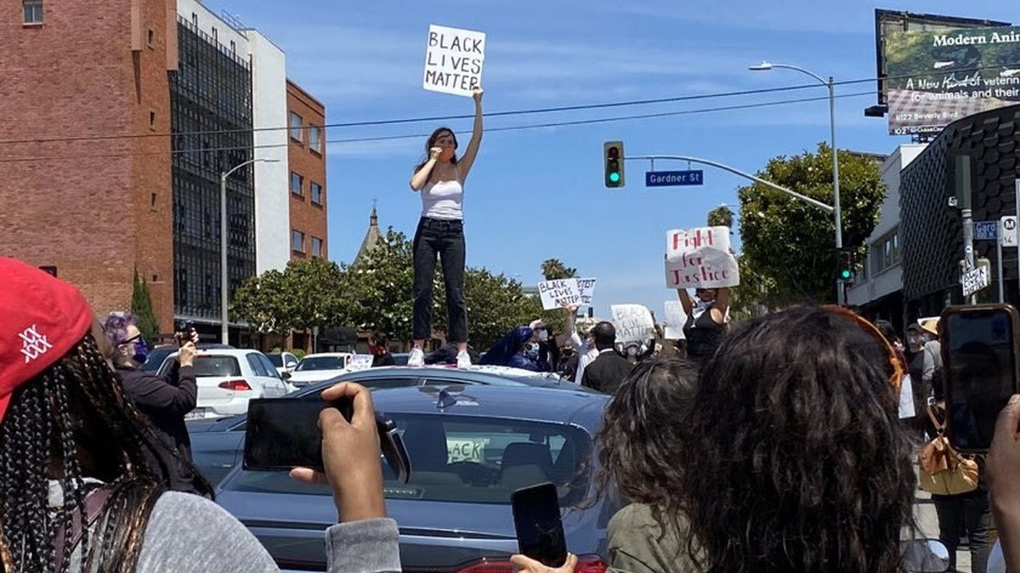 Protesters gathered in the Fairfax District of Los Angeles on May 30 to rally against the death of George Floyd.