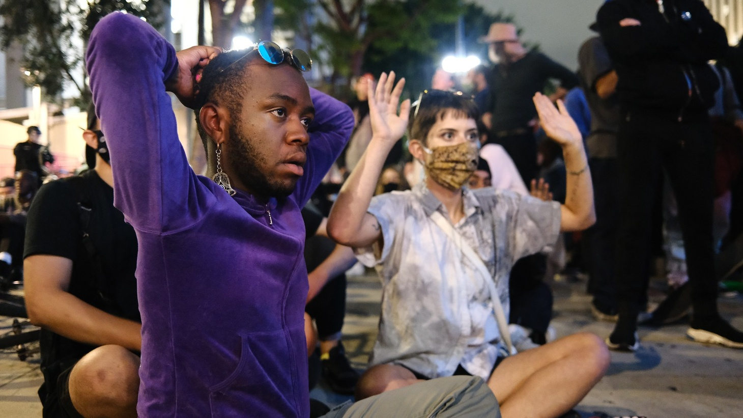 Demonstrators protest the death of George Floyd in downtown Los Angeles.