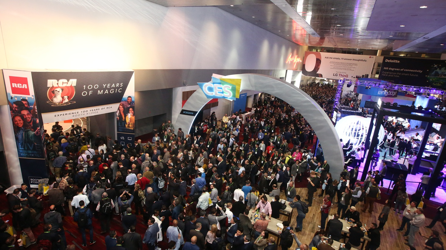 Attendees arrive for the opening day of CES 2019.