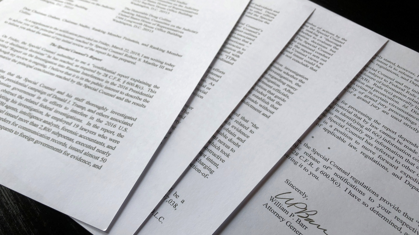 U.S. Attorney General William Barr's signature is seen at the end of his four page letter to U.S. congressional leaders on the conclusions of Special Counsel Robert Mueller's report on Russian meddling in the 2016 election -- after the letter was released by the House Judiciary Committee in Washington, U.S., March 24, 2019.
