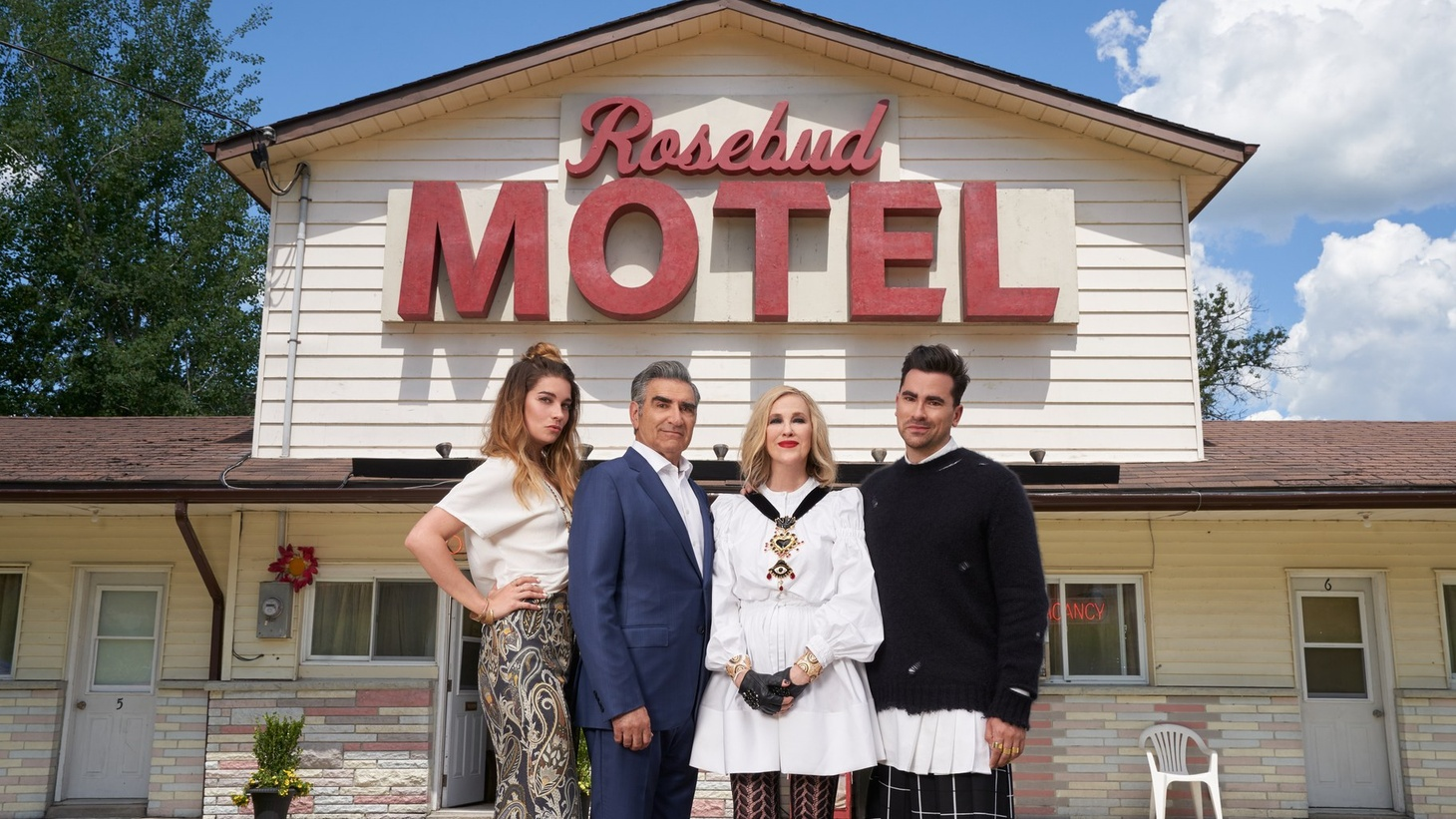 "Alexis (Annie Murphy), Johnny (Eugene Levy), Moira (Catherine O'Hara), David (Dan Levy) in ""Schitt's Creek"" season six. The show had never won an Emmy during its prior five seasons, then it swept the comedy awards on Sunday."