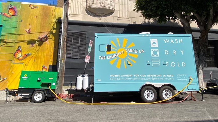 Jodie Dolan says in the last year, Laundry Truck LA not only focused on free laundry services, but made PPE plus comfortable (and functional) medical scrubs.