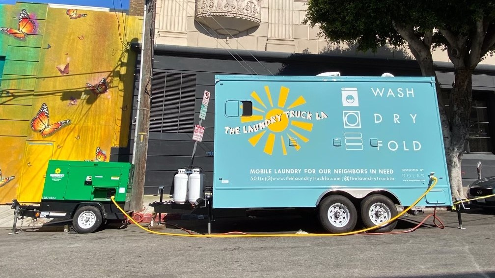 The Laundry Truck LA parked in downtown Los Angeles, July 27, 2020. She secured this second 16-foot trailer with the help of SoCalGas.