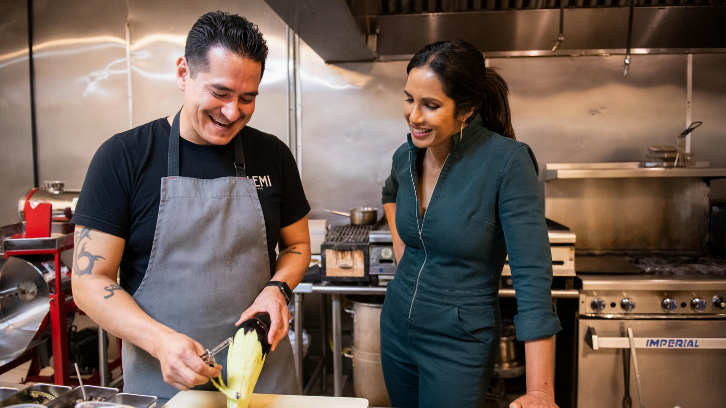 """In """"Taste the Nation,"""" Padma Lakshmi cooks with Emiliano Marentes, the first generation Mexican American owner of the modern restaurant Elemi."""